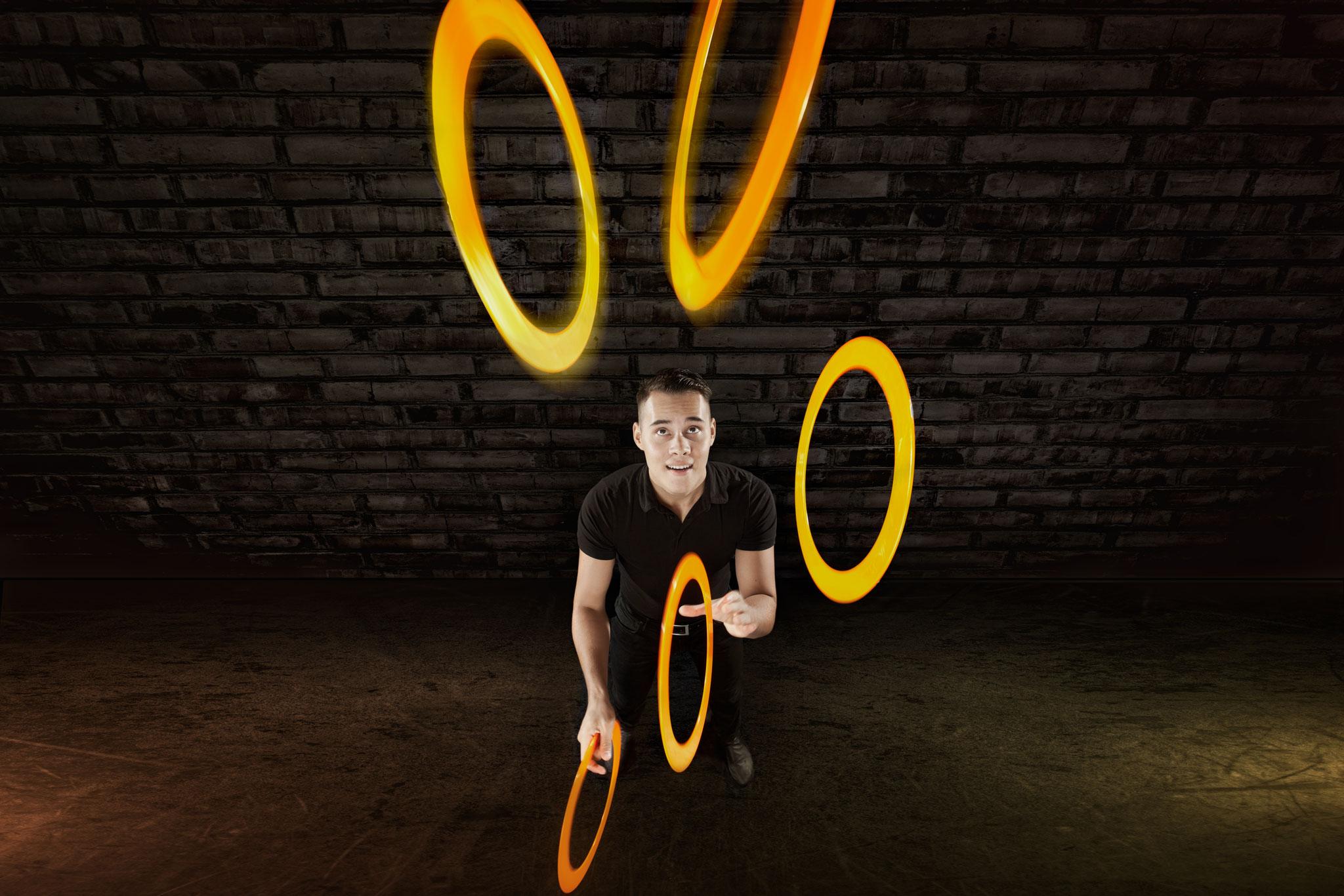 jongleur met ringen
