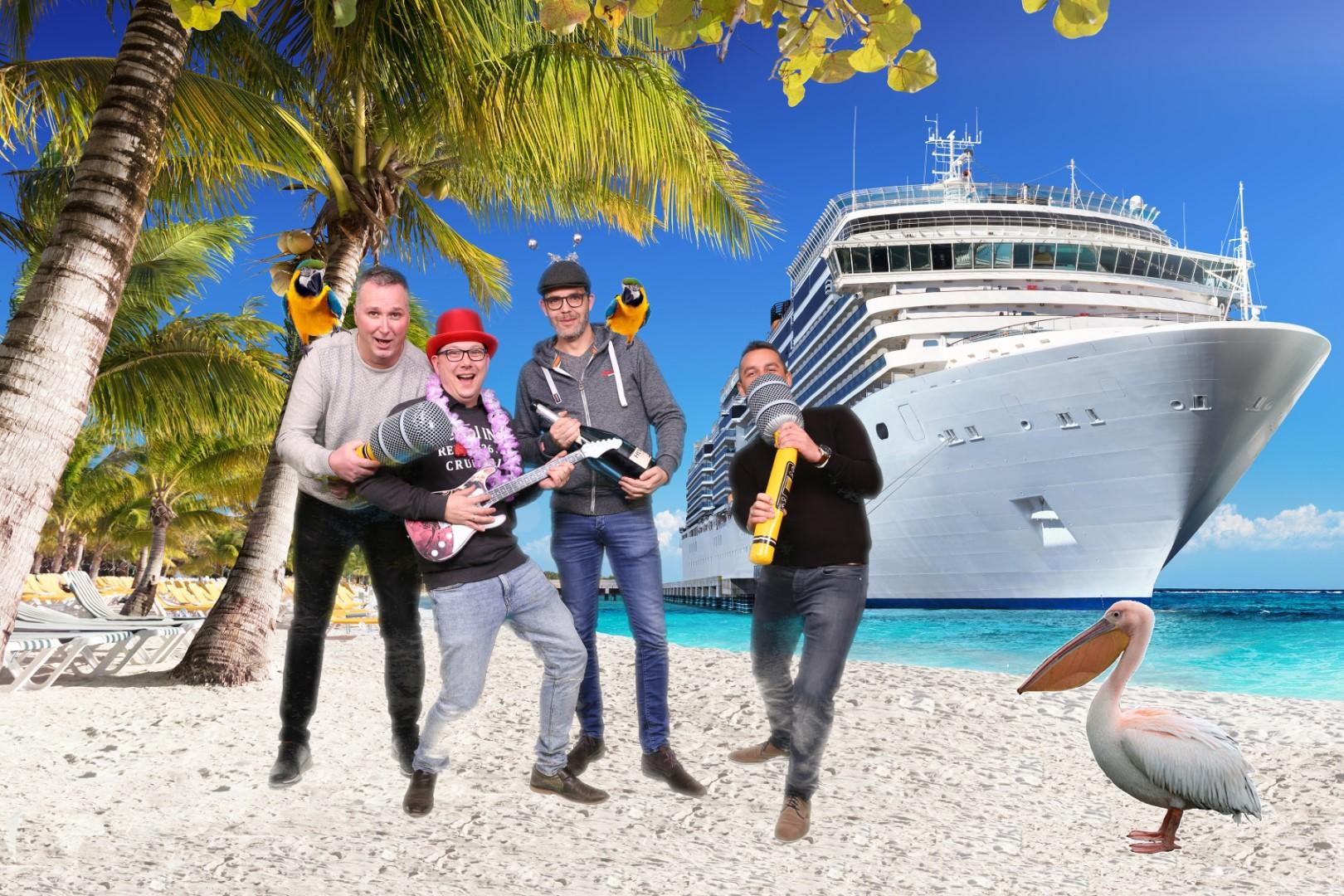 Green screen fotostudio met cruiseschip op achtergrond