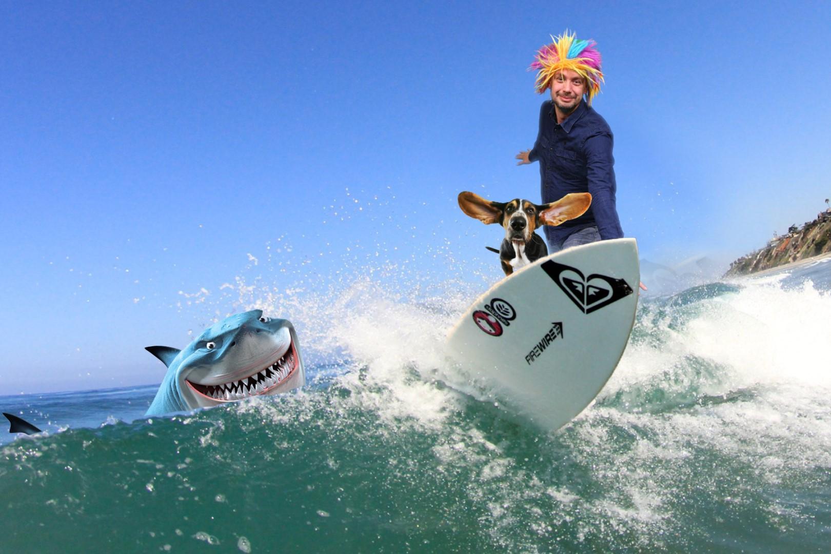 Green screen fotostudio met surf achtergrond en haai
