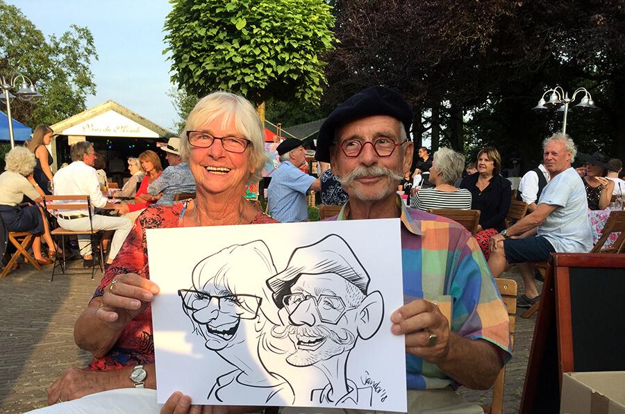Karikatuur van stel op terras