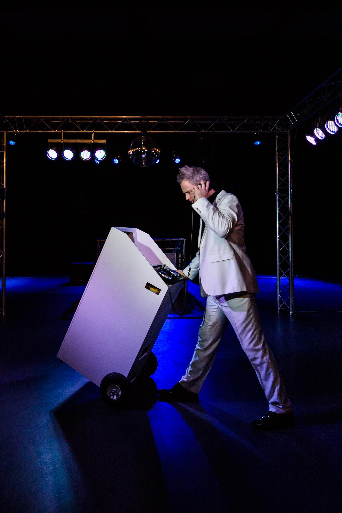 walking DJ in theater
